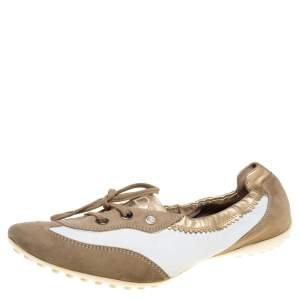 Tod's White/Gold Leather and Suede Gomma Lace Slip On Sneakers Size 40