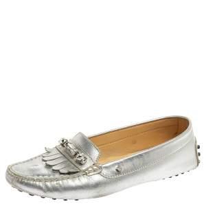 Tod's Silver Leather Crystal Embellished Fringe Loafers Size 38
