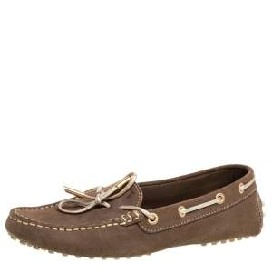 Tod's Brown Suede Bow Loafers Size 39