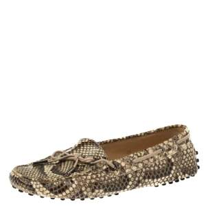 Tod's Brown/Cream Python Gommino Slip On Loafers Size 38
