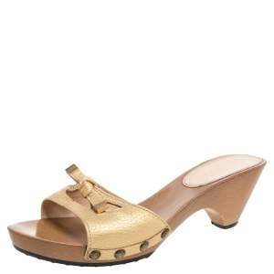 Tod's Gold Leather Knotted Bow Platform Slide Sandals Size 38