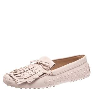 Tod's Pink Leather Studded Fringe Gommino Loafers Size 40