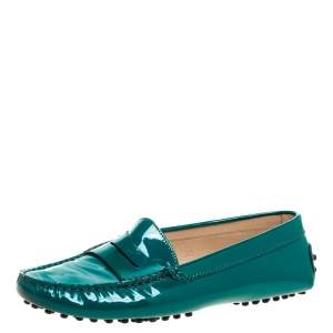 Tod's Green Patent Leather Gommini Penny Loafers Size 36