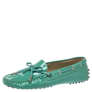 Tod's Pale Green Patent Leather  New Gommini Loafers Size 36.5