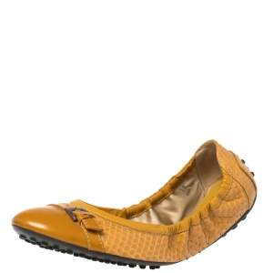 Tod's Mustard Python And Patent Leather Cap Toe Buckle Detail Scrunch Ballet Flats Size 38