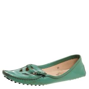 Tod's Green Patent Leather Cutout Buckle Detail Loafers Size 38