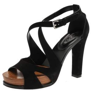Tod's Black Suede Block Heel Ankle Strap Open Toe Sandals Size 36