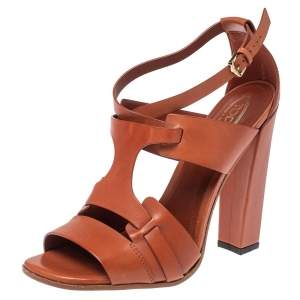 Tod's Brown Cage Leather Peep Toe Ankle Strap Block Heel  Sandals Size 39
