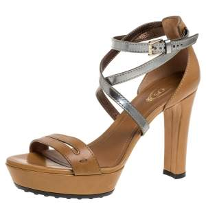 Tod's Brown/Metallic Leather Criss Cross Platform Sandals Size 37
