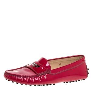 Tod's Fuchsia Pink Patent Leather Penny Slip On Loafers Size 37