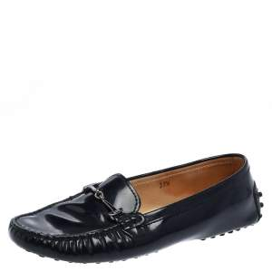 Tod's Blue Patent Leather Double T Gommino Driving Shoes Size 37.5