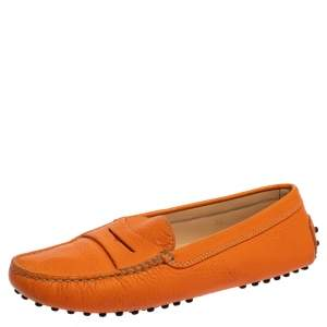 Tod's  Orange Leather Penny  Slip On Loafers Size 38