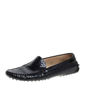 Tod's Black Laser Cut Patent Leather Driving Loafers Size 37.5