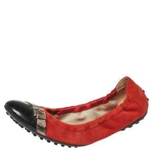 Tod's Orange/Black Suede and Patent Leather Cap Toe Scrunch Ballet Flats Size 37.5