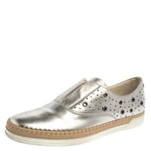 Tod's Metallic Silver Leather Francesina Espadrille Slip On Sneakers Size 39