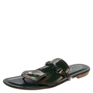 Tod's Green Patent Leather Buckle Detail Thong Flats Size 40.5