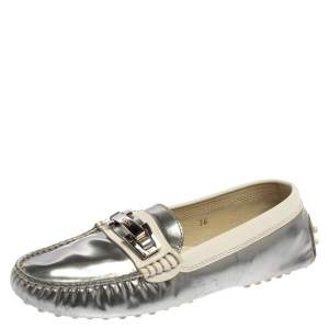 Tod's Silver/White Patent and Leather Logo Buckle Loafers Size 36