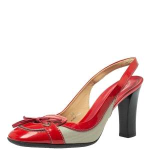 Tod's Red Leather And Fabric Bow Slingback Sandals Size 38