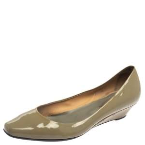 Tod's Green Patent Leather Semi Pointed-Toe Wedges Size 38.5