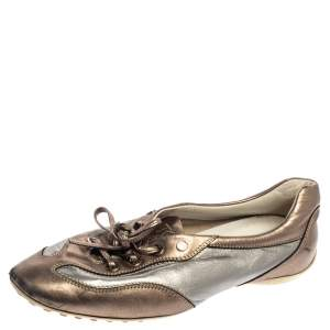 Tod's Metallic Bronze/Silver Leather Low Top Sneakers Size 38.5