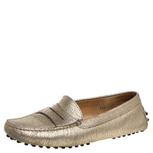 Tod's Metallic Gold Leather Penny Loafers Size 35.5