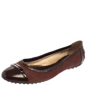 Tod's Two Tone Brown Suede and Patent Leather Cap Toe Ballet Flats Size 39