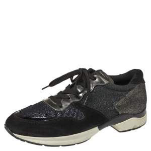 Tod's Black Mesh And Suede Textured Leather Low Top Sneakers Size 38.5