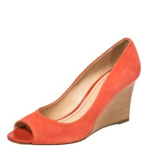 Tod's Orange Suede Leather Peep Toe Wedge Pumps Size 40.5