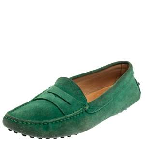 Tod's Green Suede Penny Loafers Size 39