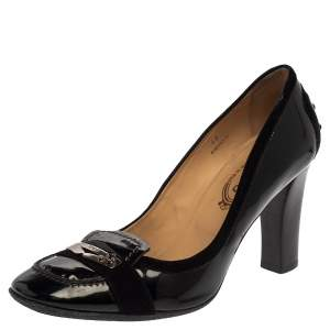 Tod's Black Suede and Patent Leather 'Jodie' Penny Loafer Pumps Size 40