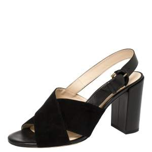 Tod's Black Suede and Leather Criss Cross Slingback Sandals Size 38.5