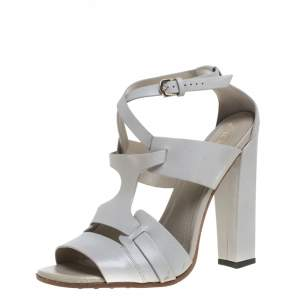 Tod's Light Grey Leather Ankle Strap Sandals Size 39