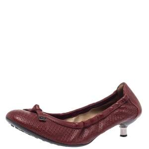 Tod's Burgundy Laser Cut Leather Bow Scrunch Kitten Heel Flats Size 37