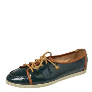 Tod's Deep Green Patent Leather Lace Up Sneakers Size 38.5