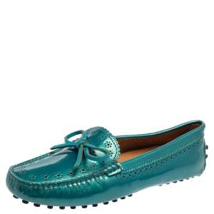 Tod's Blue Patent Leather Gommino Bow Loafers Size 37