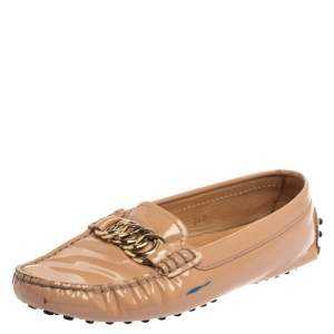 Tod's Old Rose Pink Patent Leather Chain Detail Slip On Loafers 34.5