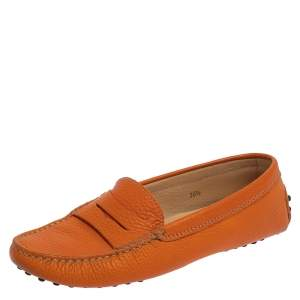 Tod's Orange Leather Gommino Penny Loafers Size 36.5