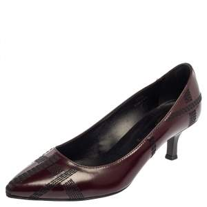 Tod's Burgundy Leather Embroidered Pointed Toe Pumps Size 38.5