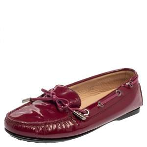 Tod's Pink Patent Leather Bow Loafers Size 36.5