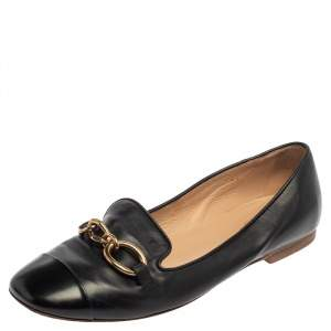 Tod's Black Leather Chain Embellished Smoking Slippers Size 39.5
