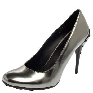 Tod's Silver Patent Leather Round Toe Pumps Size 37.5