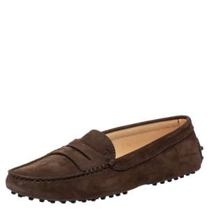 Tod's Brown Suede Penny Loafers Size 37.5