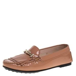 Tod's Beige Patent Leather Double T Fringe Loafers Size 37
