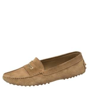 Tod's Light Brown Crystal Embellished Penny Loafers Size 38.5