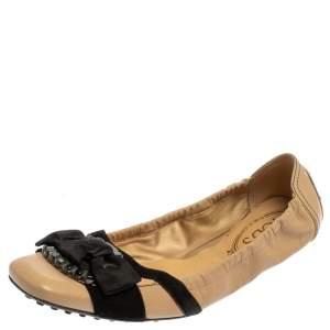 Tod's Beige/Black Leather Scrunch  Ballet Flats Size 39