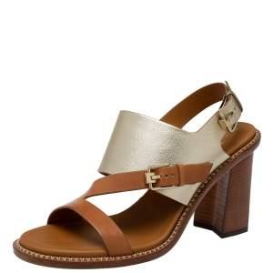 Tod's Brown/Metallic Leather Slingback Block Heel Sandals Size 37