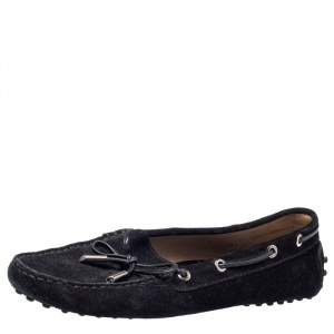 Tod's Black Suede Slip On Bow Loafers Size 38.5
