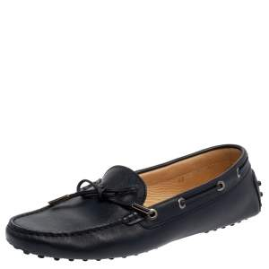 Tod's Blue Leather Bow Slip On Loafers Size 40