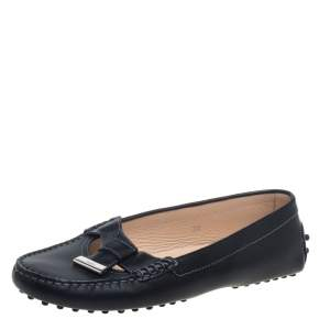 Tod's Black Leather Bow Slip On Loafers Size 38