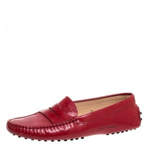 Tod's Red Patent Leather Loafers Size 38